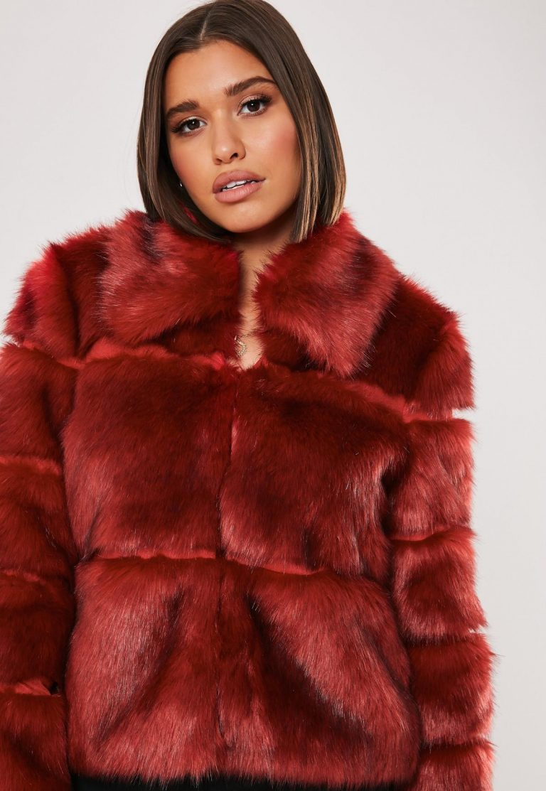 Red faux fur pelted cropped coat
