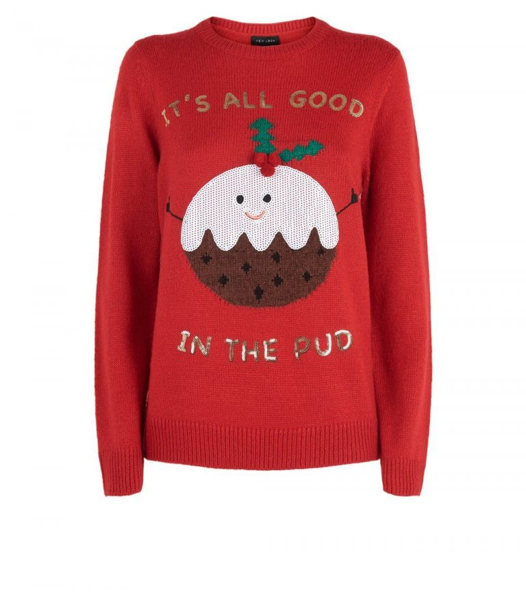 Red good in the pud Christmas jumper- New Look