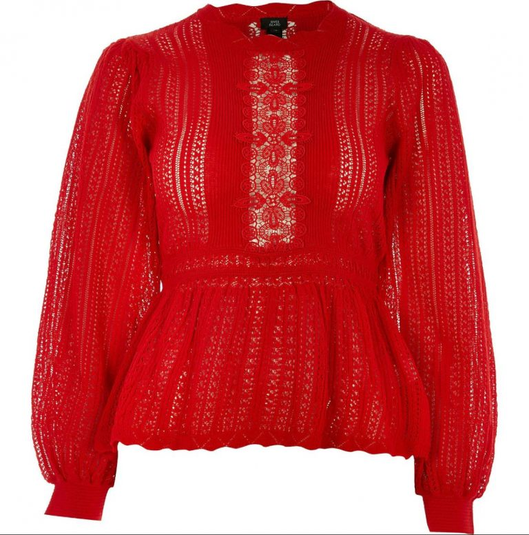 Red lace peplum knitted jumper- River Island