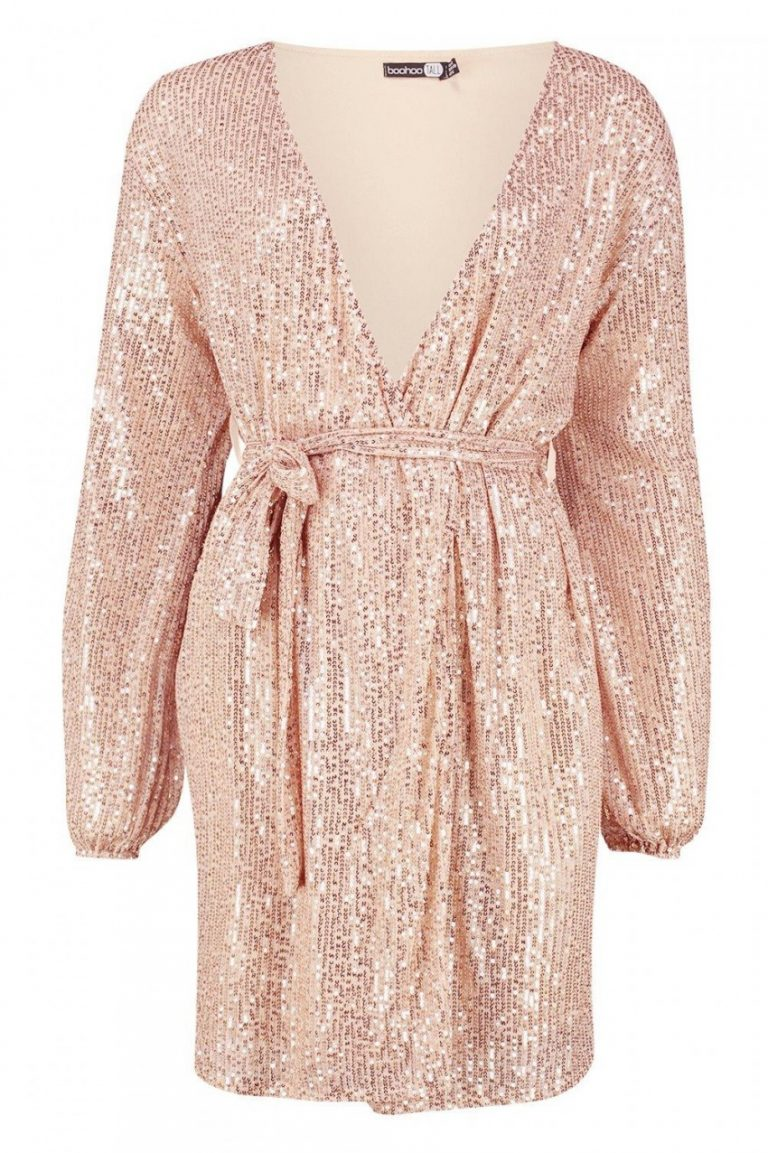 Tall belted sequin blazer dress- Boohoo