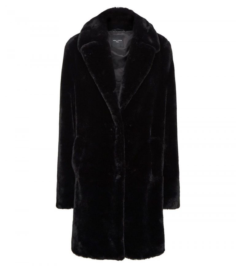 Tall black faux fur coat- New Look