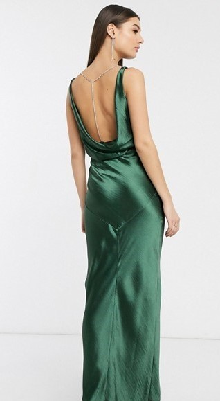 Tall cowl back forest green maxi dress with diamante back detail- Asos (3)