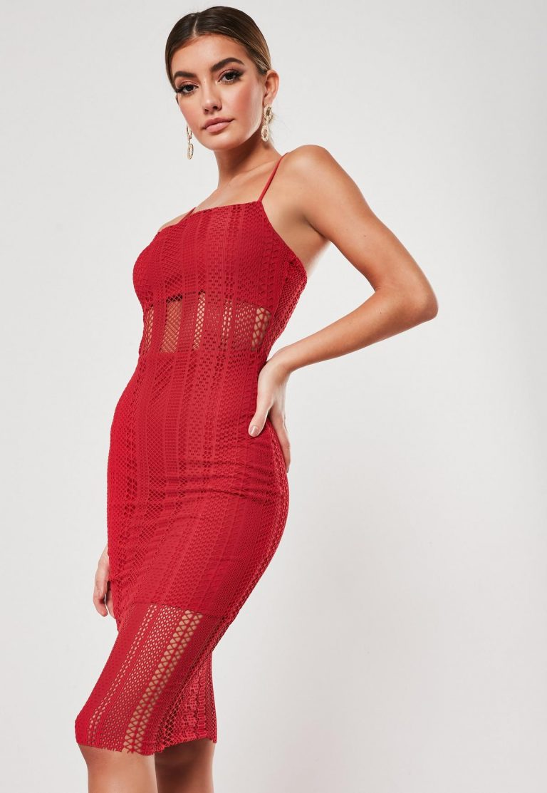 Tall red lace strappy midi dress- Missguided