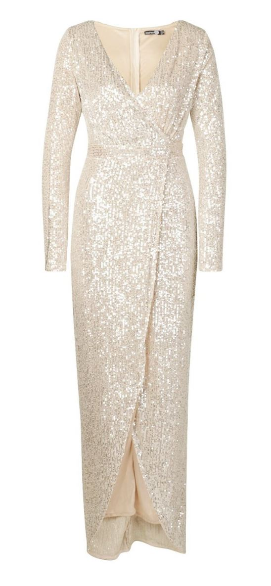 Tall sequin plunge wrap dress- Boohoo