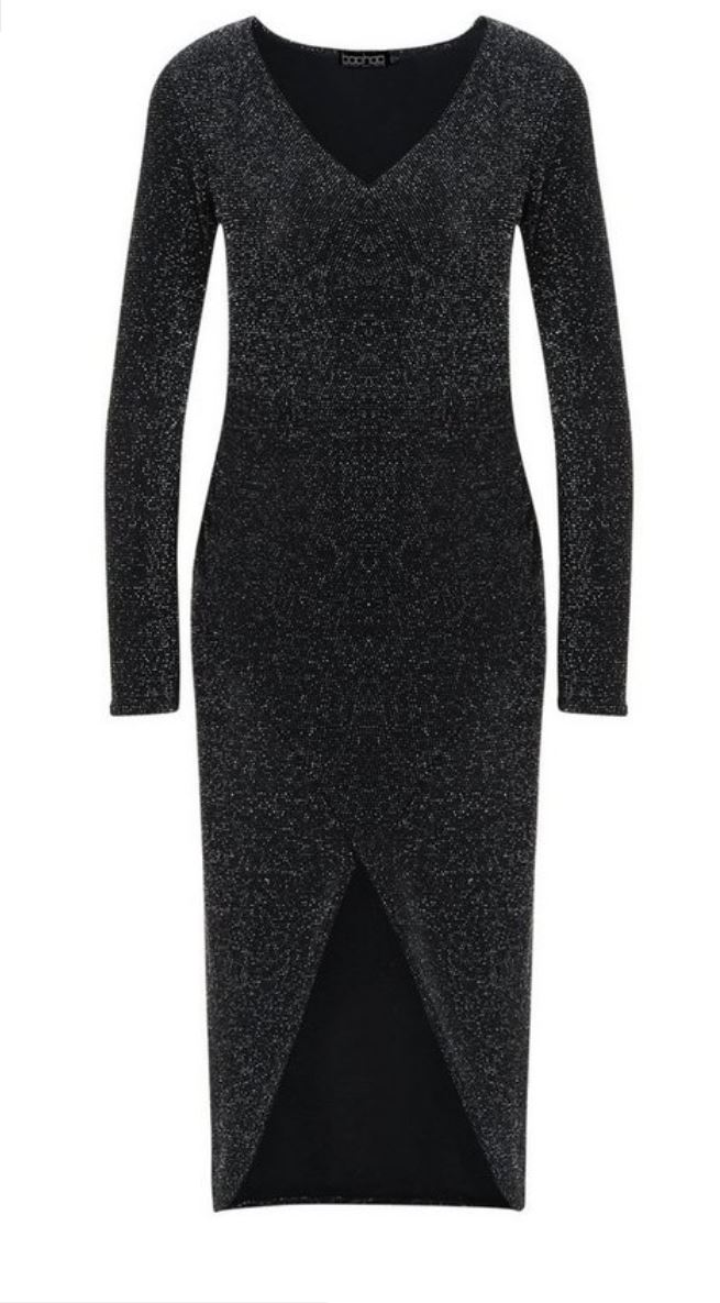 Tall shimmer wrap bodycon midi dress- Boohoo