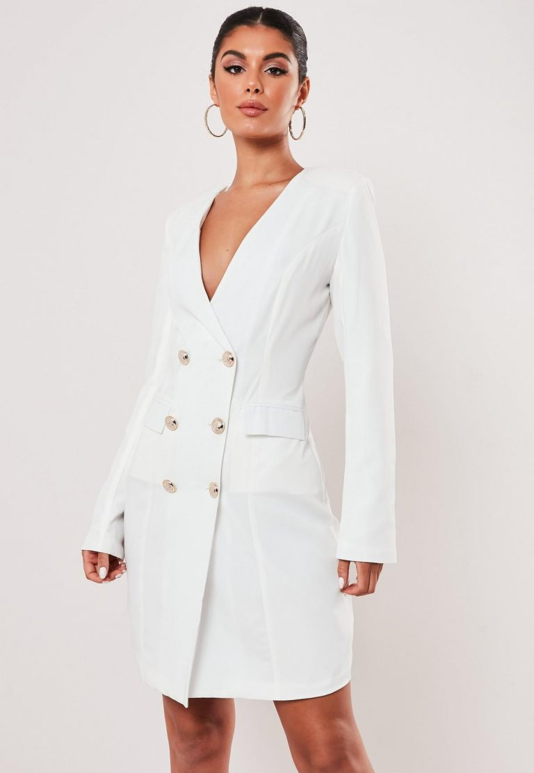 Tall white double breasted blazer dress- Missguided