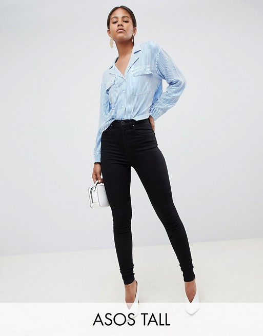 Asos tall 'Sculpt me' high waisted premium jeans in black