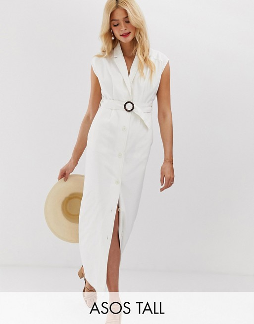Asos tall denim maxi shirt dress with belt and open back detail