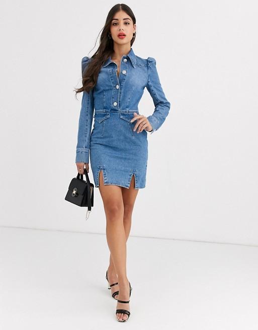 Asos tall denim mini western shirt dress with puff sleeve