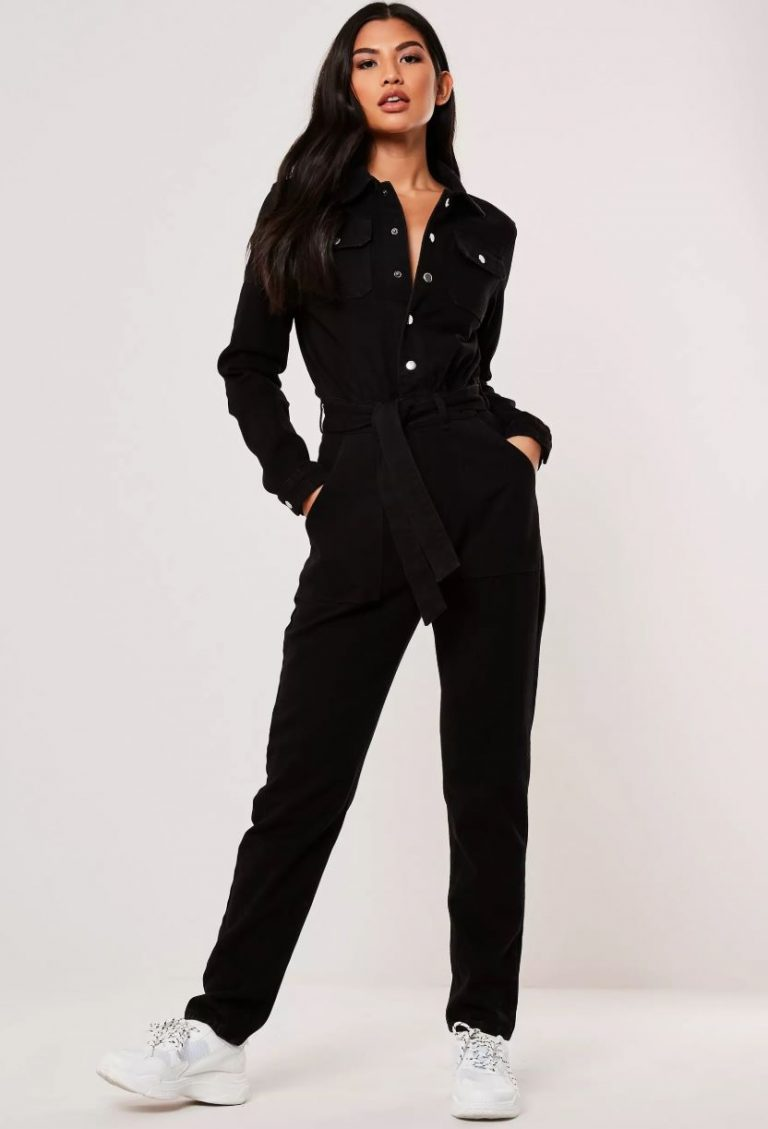 Missguided tall black button through boilersuit