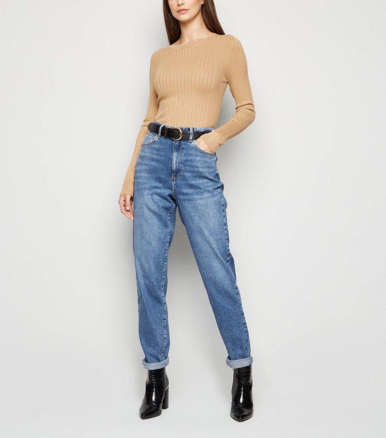 New Look tall blue mid wash waist enhance mom jeans