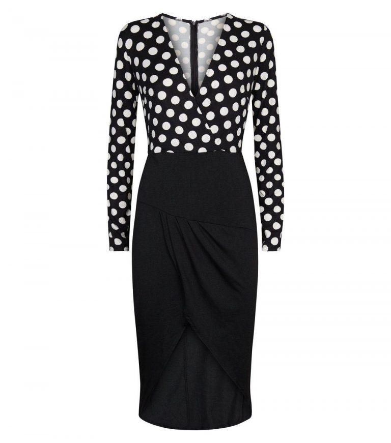 Black 2-in-1 polka dot dress