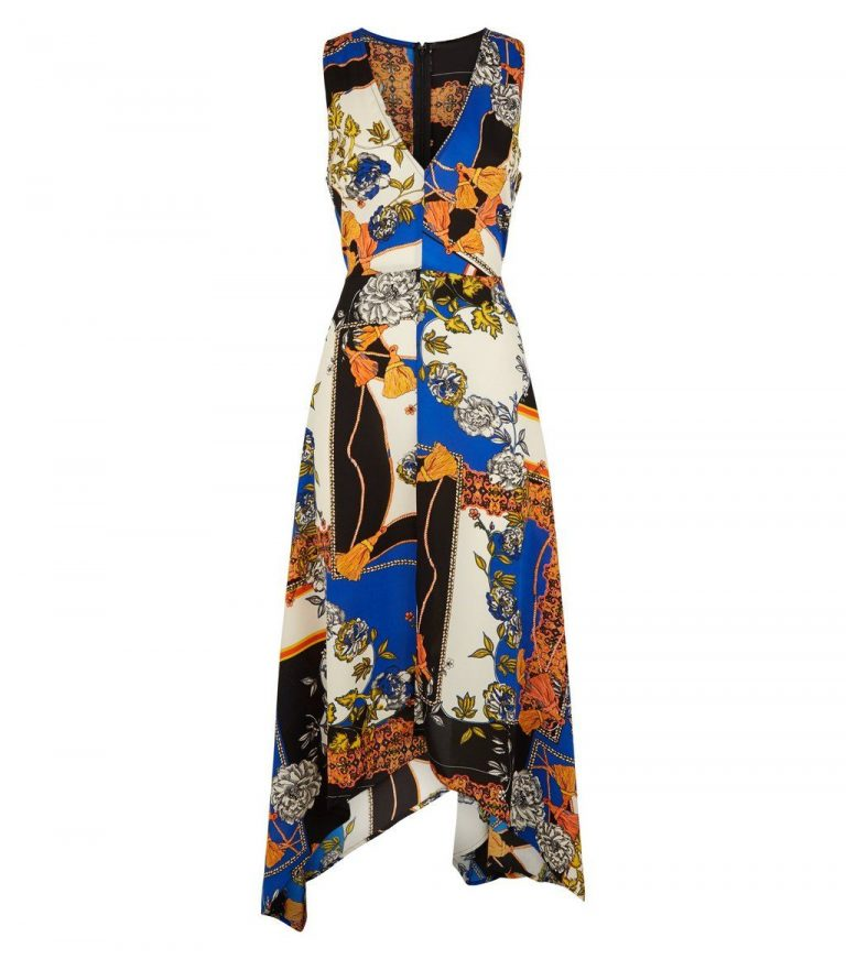 Blue scarf print midi dress