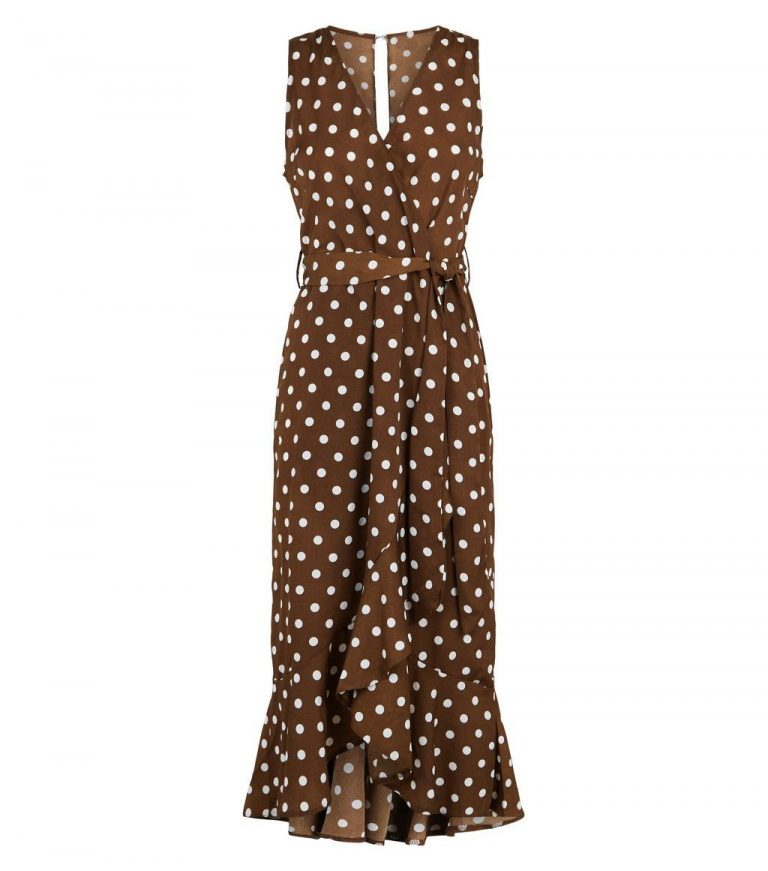 Brown polka dot satin midi dress