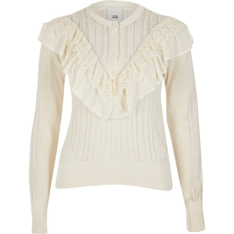 Cream frill button knitted jumper