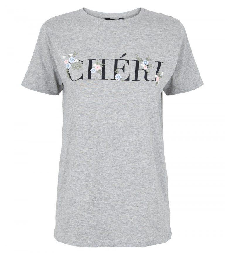 Grey marl floral cheri slogan t shirt