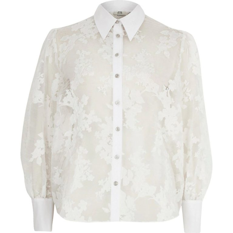 White printed organza long sleeve shirt