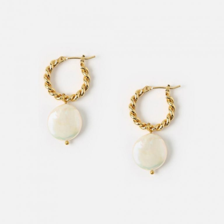 Rope twist pearl hoops