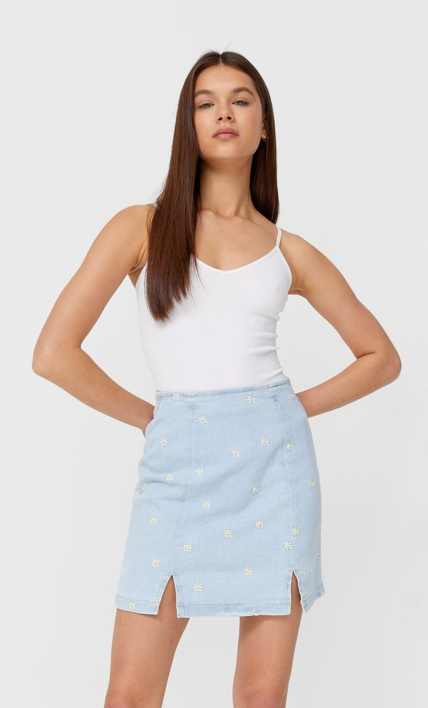 Daisy denim mini skirt - Stradivarius