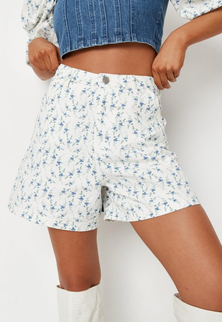 White co-ord ditsy floral denim shorts