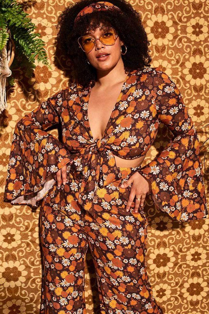 Summer of love brown floral bell sleeve tie top