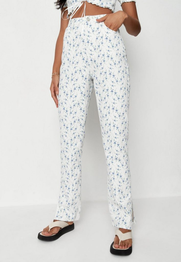 White co-ord floral print split hem jeans