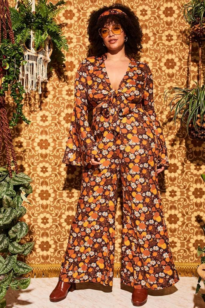 Wiggle Wiggle Brown Floral Wide Leg Trousers